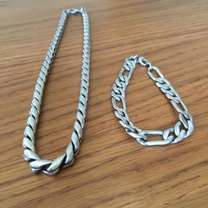 Other - Men's silver-tone costume necklace and bracelet